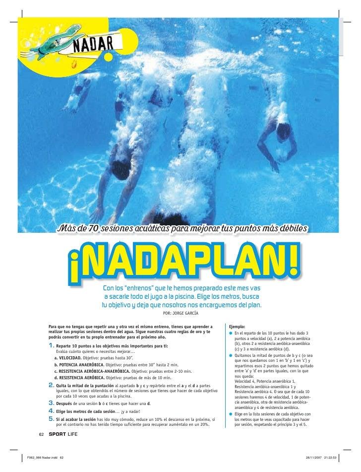 """Más de 70 sesiones acuáticas para mejorar tus puntos más débiles                    ¡NADAPLAN!         Con los """"entrenos"""" ..."""