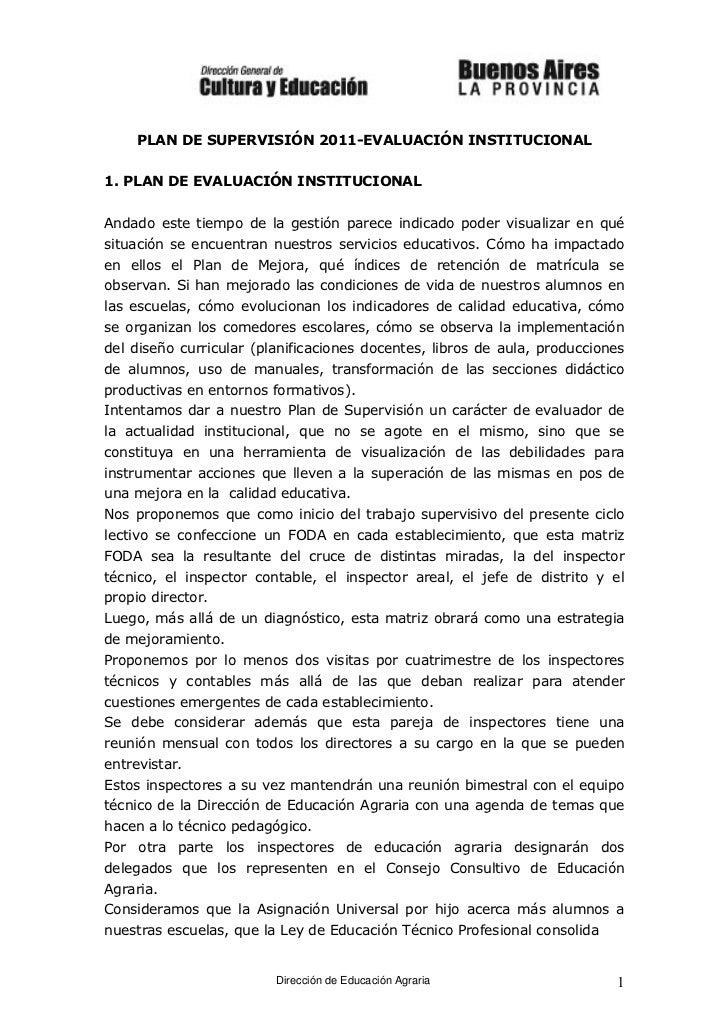 PLAN DE SUPERVISIÓN 2011-EVALUACIÓN INSTITUCIONAL1. PLAN DE EVALUACIÓN INSTITUCIONALAndado este tiempo de la gestión parec...