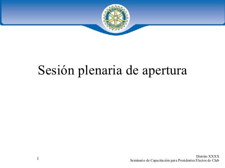 Sesión plenaria de apertura