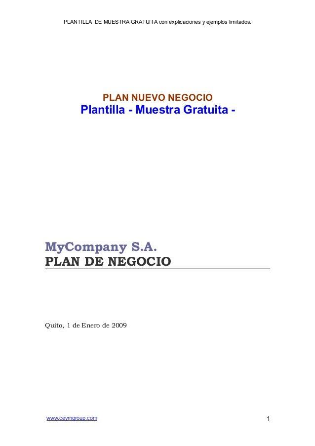 PLANTILLA DE MUESTRA GRATUITA con explicaciones y ejemplos limitados.                    PLAN NUEVO NEGOCIO           Plan...