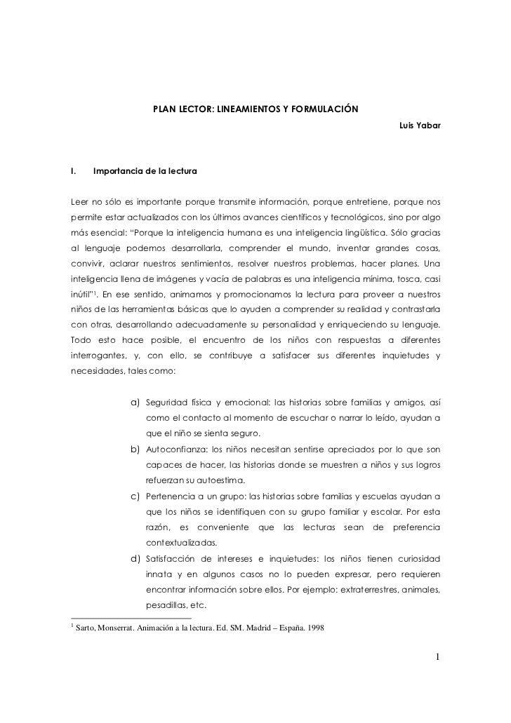 PLAN LECTOR: LINEAMIENTOS Y FORMULACIÓN                                                                                   ...