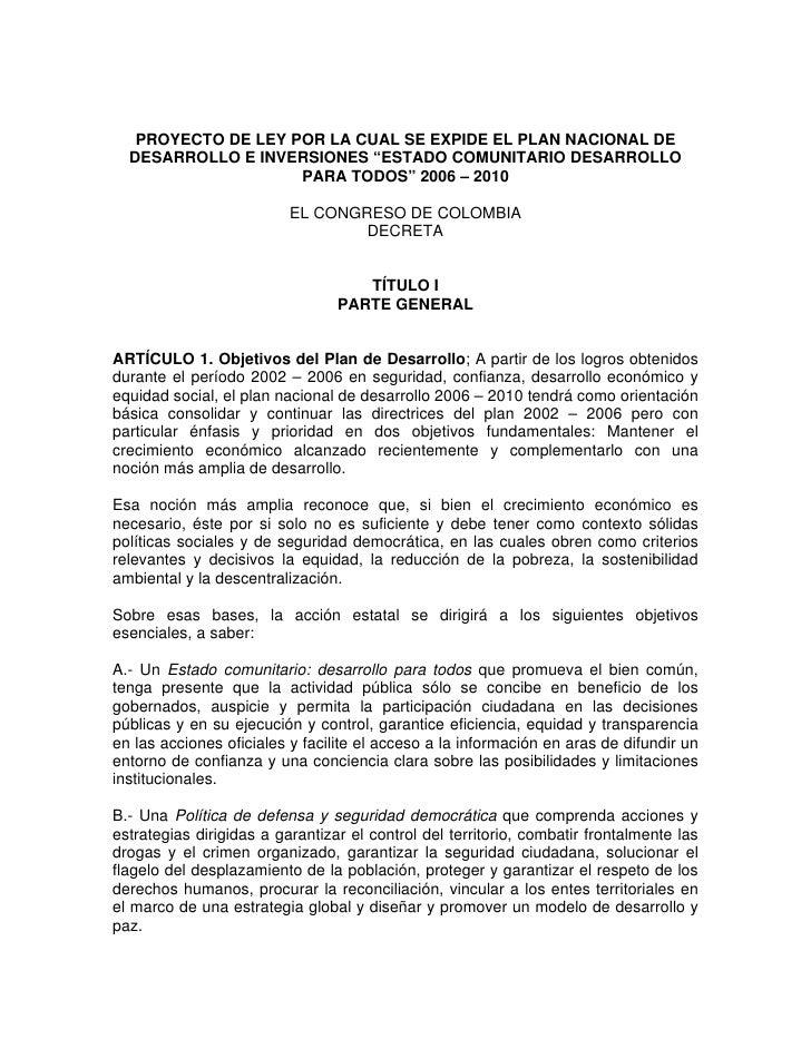 """PROYECTO DE LEY POR LA CUAL SE EXPIDE EL PLAN NACIONAL DE   DESARROLLO E INVERSIONES """"ESTADO COMUNITARIO DESARROLLO       ..."""