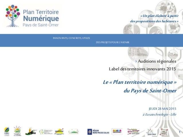 INNOVANTS,CONCRETS,UTILES DES PROJETSPOURL'AVENIR › Auditions régionales Label des territoires innovants 2015 Le«Plan terr...