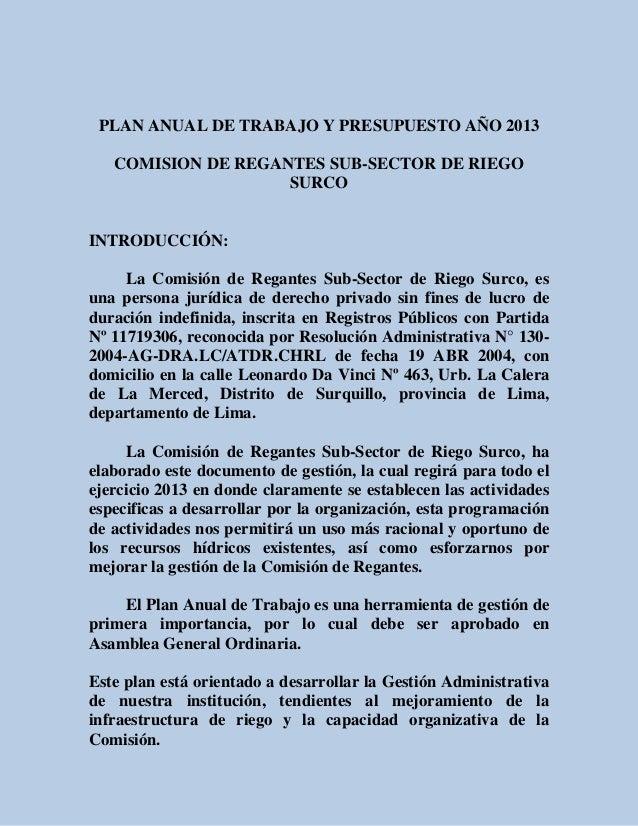 PLAN ANUAL DE TRABAJO Y PRESUPUESTO AÑO 2013   COMISION DE REGANTES SUB-SECTOR DE RIEGO                    SURCOINTRODUCCI...