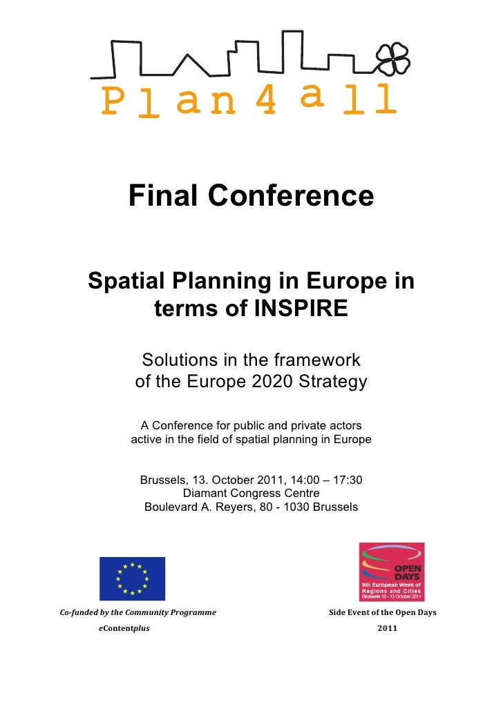 Plan4all final conference - Practical Information, Access & Accommodation