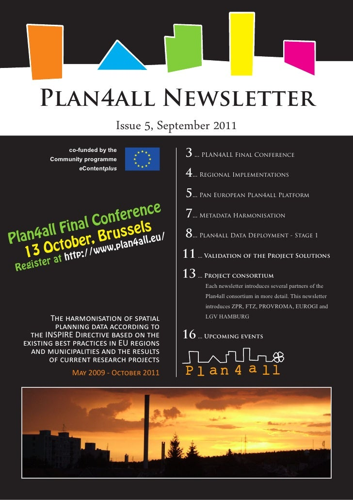 Plan4all Newsletter                             Issue 5, September 2011              co-funded by the         Community pr...