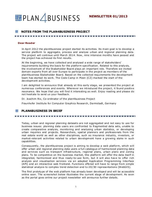 Plan4business newsletter 01 2013