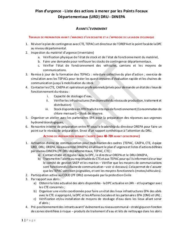 Plan d'urgence - Liste des actions à mener par les Points Focaux Départementaux (URD) DRU - DINEPA 1 | P a g e AVANT L'EVE...