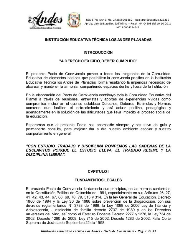 REGISTRO DANE: No. 273555001882 - Registro Educativo 225219  Aprobación de Estudios SedTolima – Resol. Nº. 04695 del 10-10...