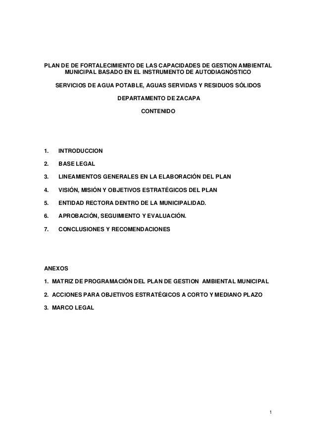 PLAN DE DE FORTALECIMIENTO DE LAS CAPACIDADES DE GESTION AMBIENTAL MUNICIPAL BASADO EN EL INSTRUMENTO DE AUTODIAGNÓSTICO S...