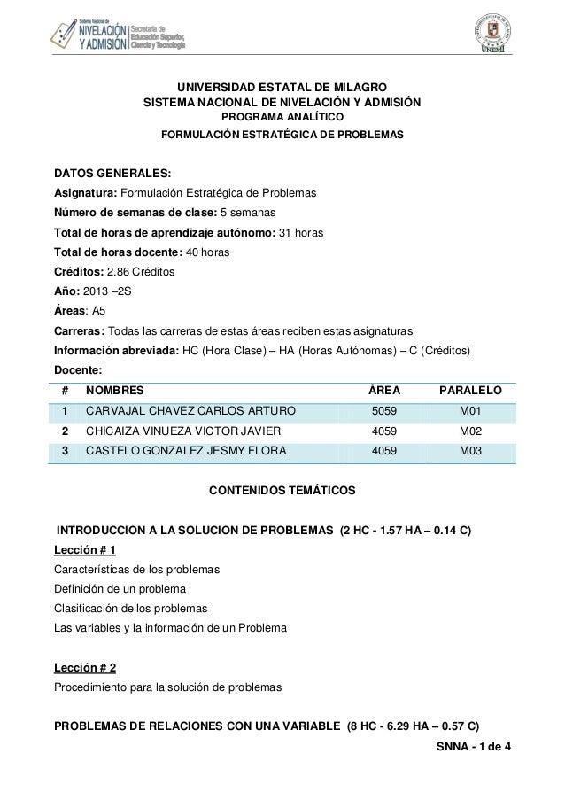 UNIVERSIDAD ESTATAL DE MILAGRO SISTEMA NACIONAL DE NIVELACIÓN Y ADMISIÓN PROGRAMA ANALÍTICO FORMULACIÓN ESTRATÉGICA DE PRO...