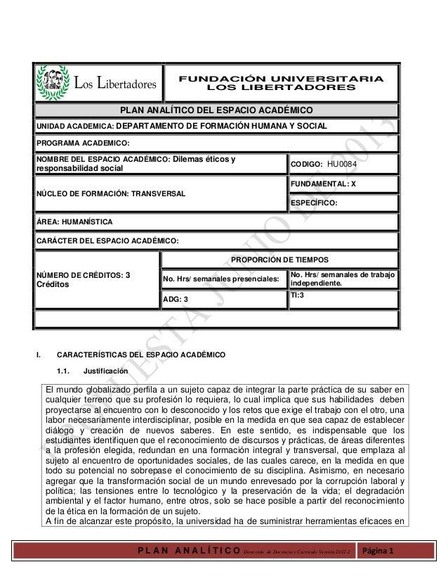 P L A N A N A L Í T I C O Dirección de Docencia y Currículo Versión 2012-2 Página 1 FUNDACIÓN UNIVERSITARIA LOS LIBERTADOR...