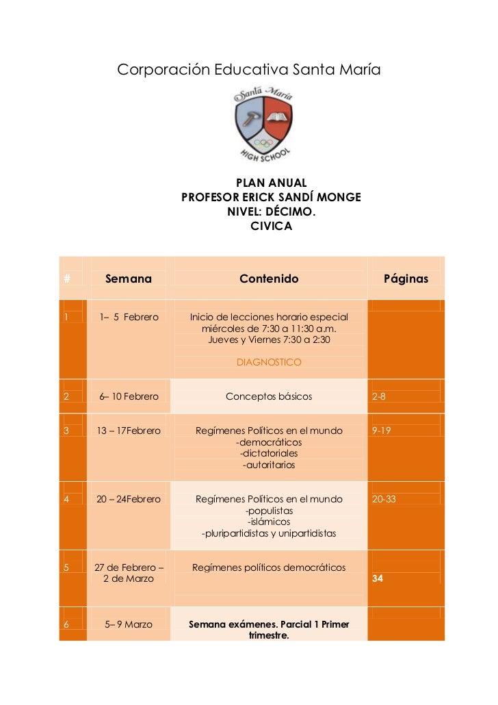 Corporación Educativa Santa María                              PLAN ANUAL                      PROFESOR ERICK SANDÍ MONGE ...