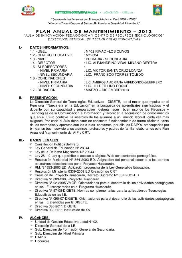 """INSTITUCIÓN EDUCATIVA Nº 2024 - LOS OLIVOS - UGEL 02""""Decenio de las Personas con Discapacidad en el Perú 2007 - 2016""""""""Año ..."""