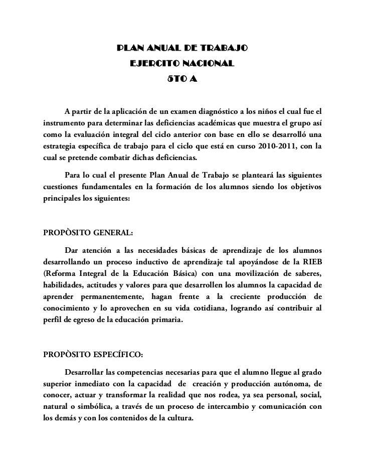 PLAN ANUAL DE TRABAJO                          EJERCITO NACIONAL                                     5TO A       A partir ...