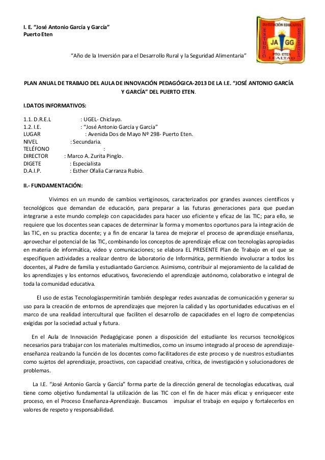 """I. E. """"José Antonio García y García"""" Puerto Eten """"Año de la Inversión para el Desarrollo Rural y la Seguridad Alimentaria""""..."""