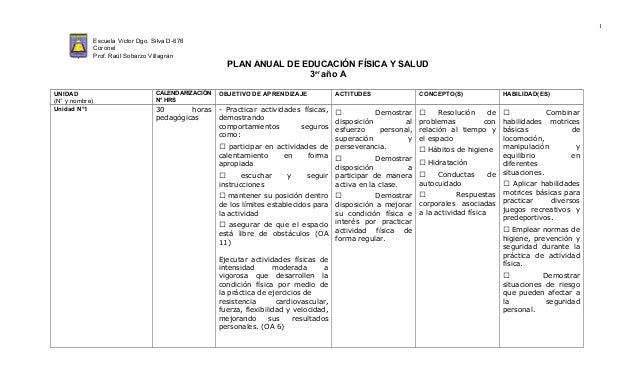 Educacion Fisica y Salud Plan Anual Educacion Fisica y