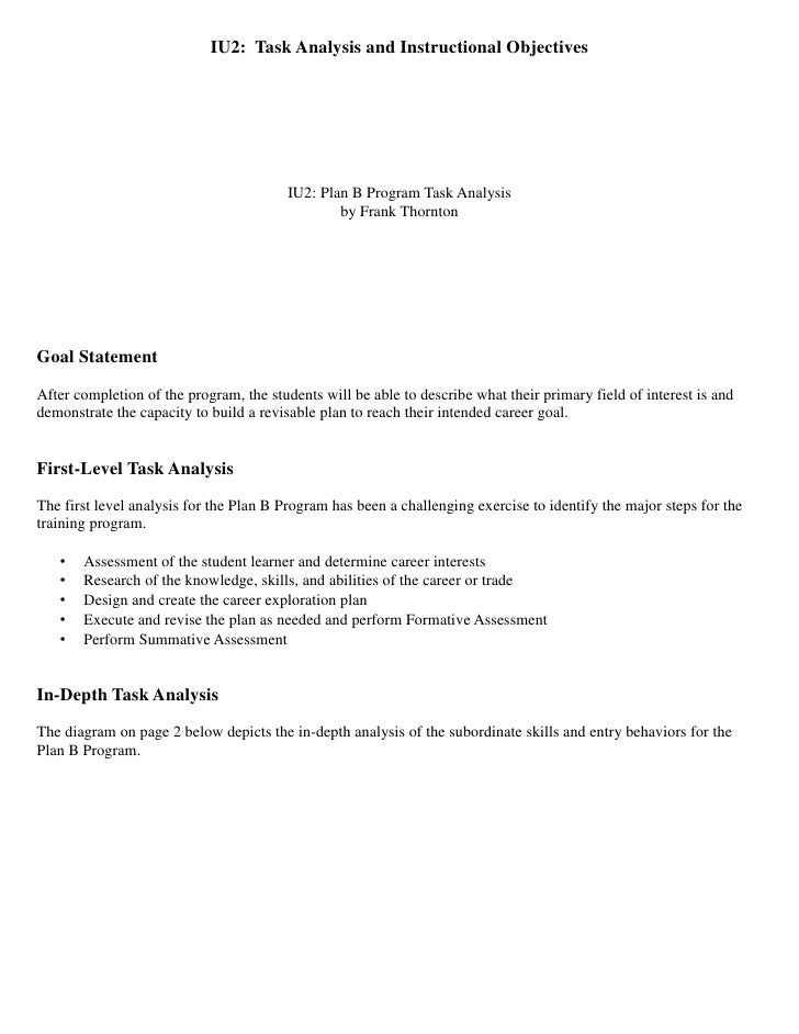 IU2: Task Analysis and Instructional Objectives                                         IU2: Plan B Program Task Analysis ...