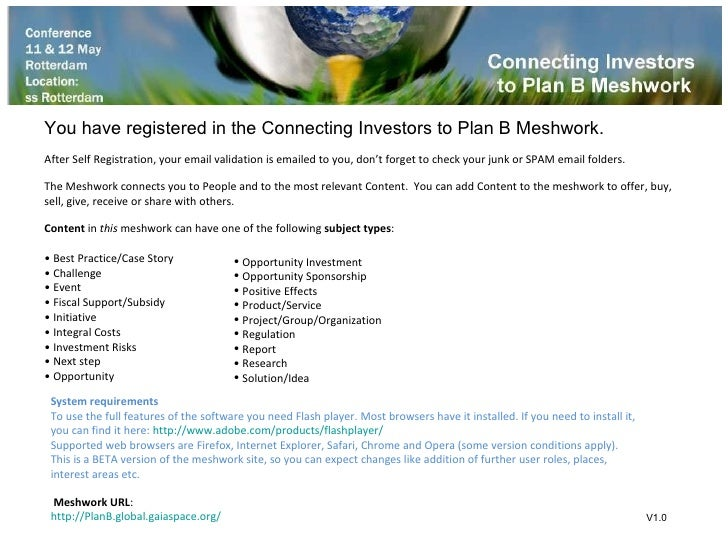 <ul><li>You have registered in the Connecting Investors to Plan B Meshwork. </li></ul><ul><li>After Self Registration, you...