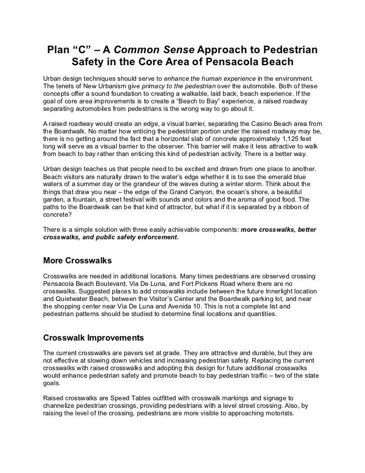 """Plan """"C"""" – A Common Sense Approach to Pedestrian      Safety in the Core Area of Pensacola BeachUrban design techniques sh..."""