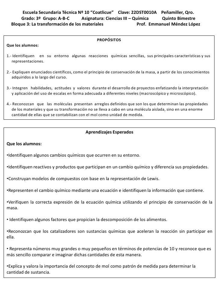"Escuela Secundaria Técnica Nº 10 ""Coatlicue"" Clave: 22DST0010A Peñamiller, Qro.      Grado: 3º Grupo: A-B-C         Asigna..."