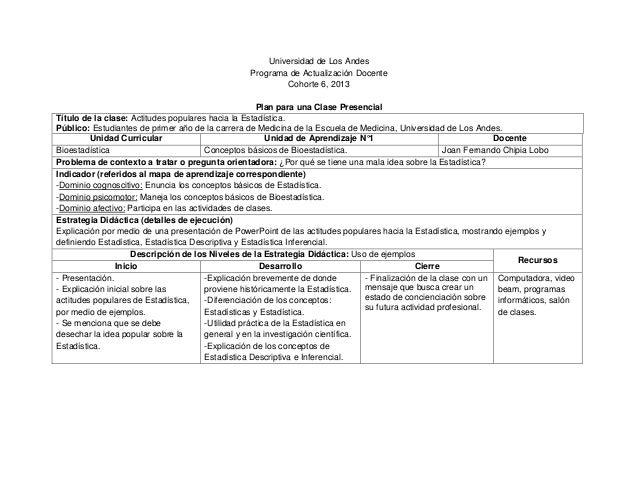 Universidad de Los Andes Programa de Actualización Docente Cohorte 6, 2013 Plan para una Clase Presencial Título de la cla...