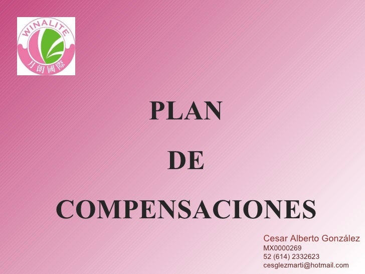 PLAN DE  COMPENSACIONES Cesar Alberto González MX0000269 52 (614) 2332623 [email_address]