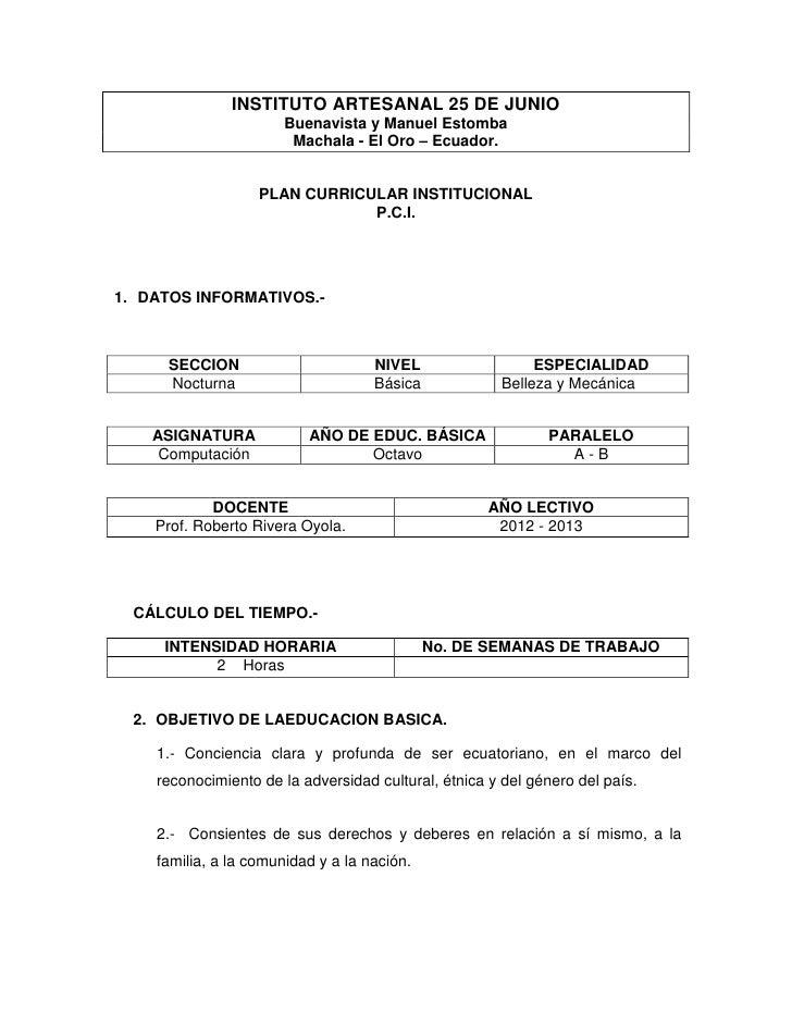 INSTITUTO ARTESANAL 25 DE JUNIO                       Buenavista y Manuel Estomba                        Machala - El Oro ...