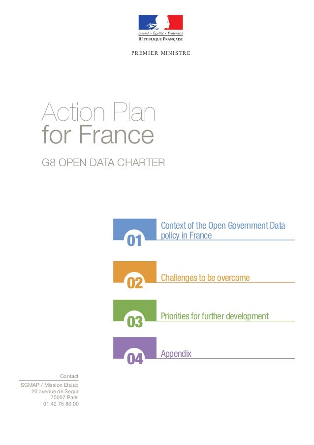PREMIER MINISTRE  Action Plan for France G8 OPEN DATA CHARTER  01  Context of the Open Government Data policy in France  0...
