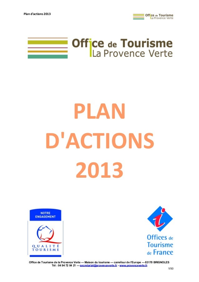 Plan d 39 actions 2013 de l 39 office de tourisme de la provence verte - Carroz d araches office de tourisme ...
