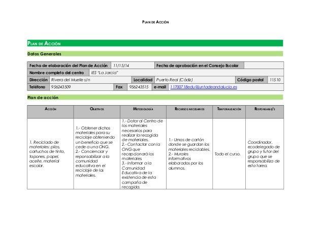 PLAN DE ACCIÓN PLAN DE ACCIÓN Datos Generales Fecha de elaboración del Plan de Acción 11/15/14 Fecha de aprobación en el C...