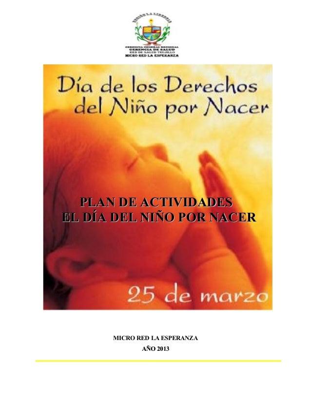 PLAN DE ACTIVIDADESEL DÍA DEL NIÑO POR NACER      MICRO RED LA ESPERANZA             AÑO 2013
