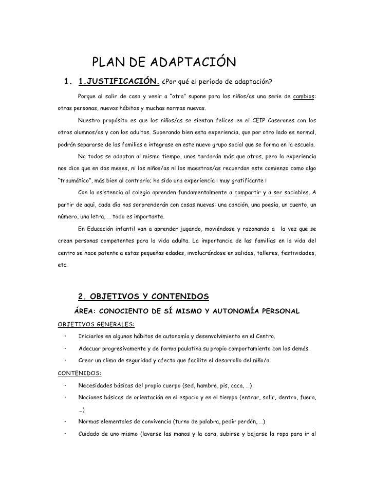 Plan de adaptaci n educaci n infantil for Adaptacion jardin maternal