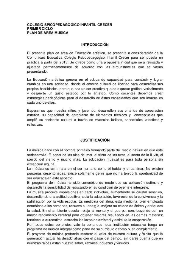COLEGIO SPICOPEDAGOGICO INFANTIL CRECERPRIMER CICLOPLAN DE AREA MUSICA                                    INTRODUCCIÓNEl p...