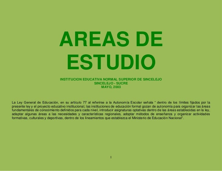Plan De Areas