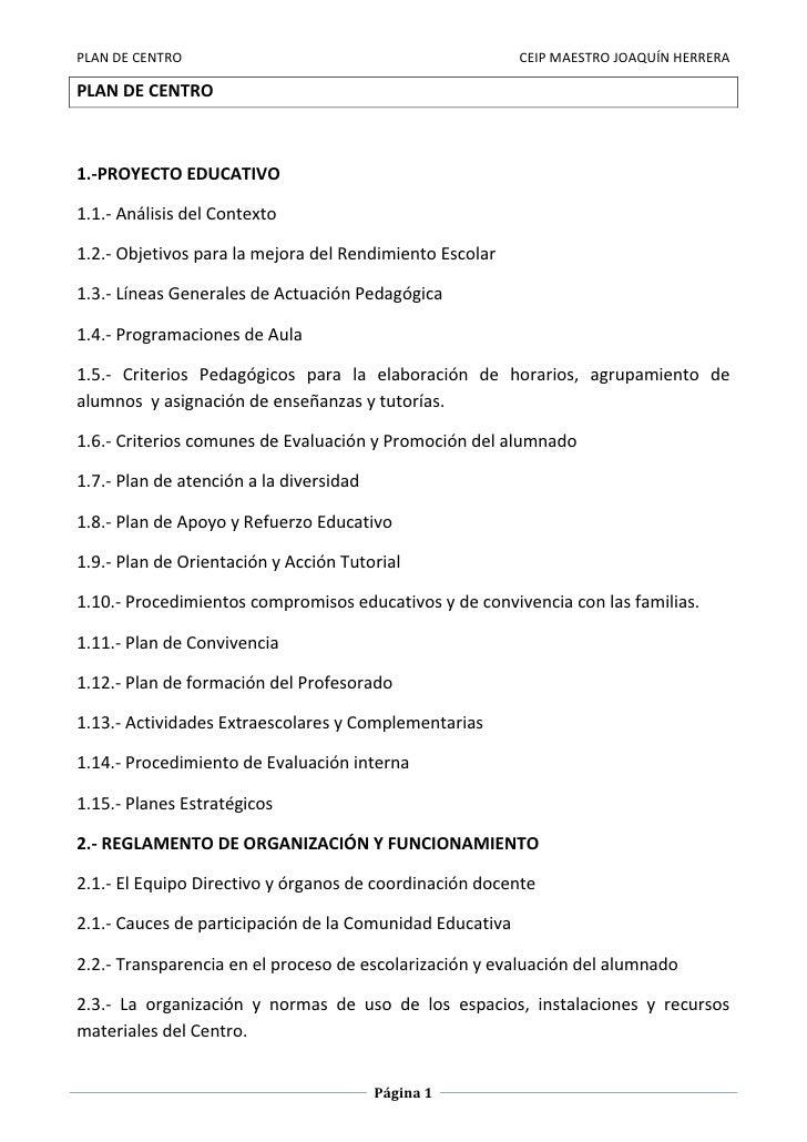 Plan de centro 2011 - 2012. Ceip. Maestro Joaquín Herrera Álvarez.