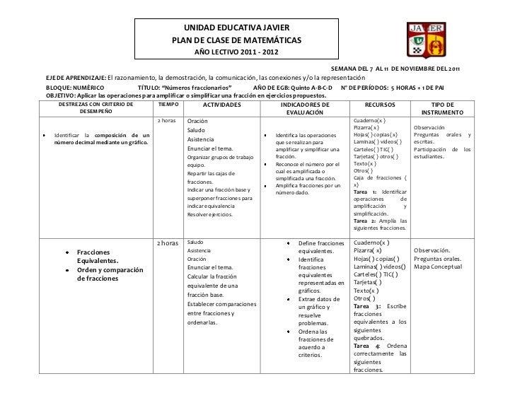 UNIDAD EDUCATIVA JAVIER                                             PLAN DE CLASE DE MATEMÁTICAS                          ...