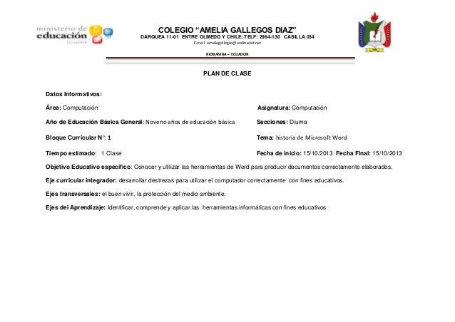 """COLEGIO """"AMELIA GALLEGOS DIAZ"""" DARQUEA 11-01 ENTRE OLMEDO Y CHILE: TELF: 2964-130 CASILLA 034 E-mail: ameliagallegos@andin..."""