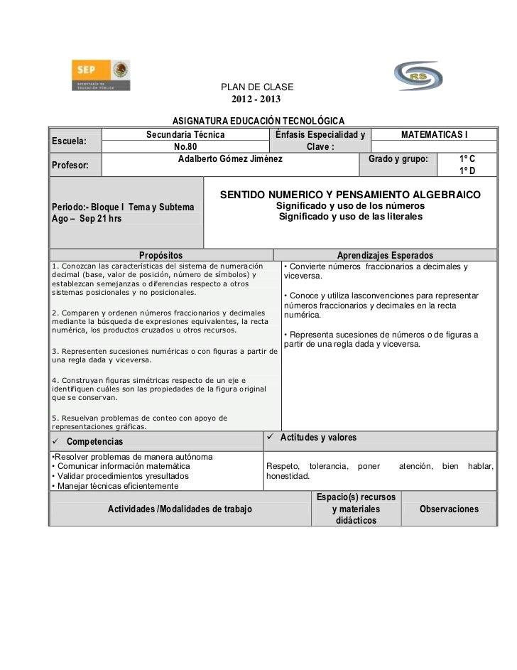 PLAN DE CLASE                                                   2012 - 2013                               ASIGNATURA EDUCA...