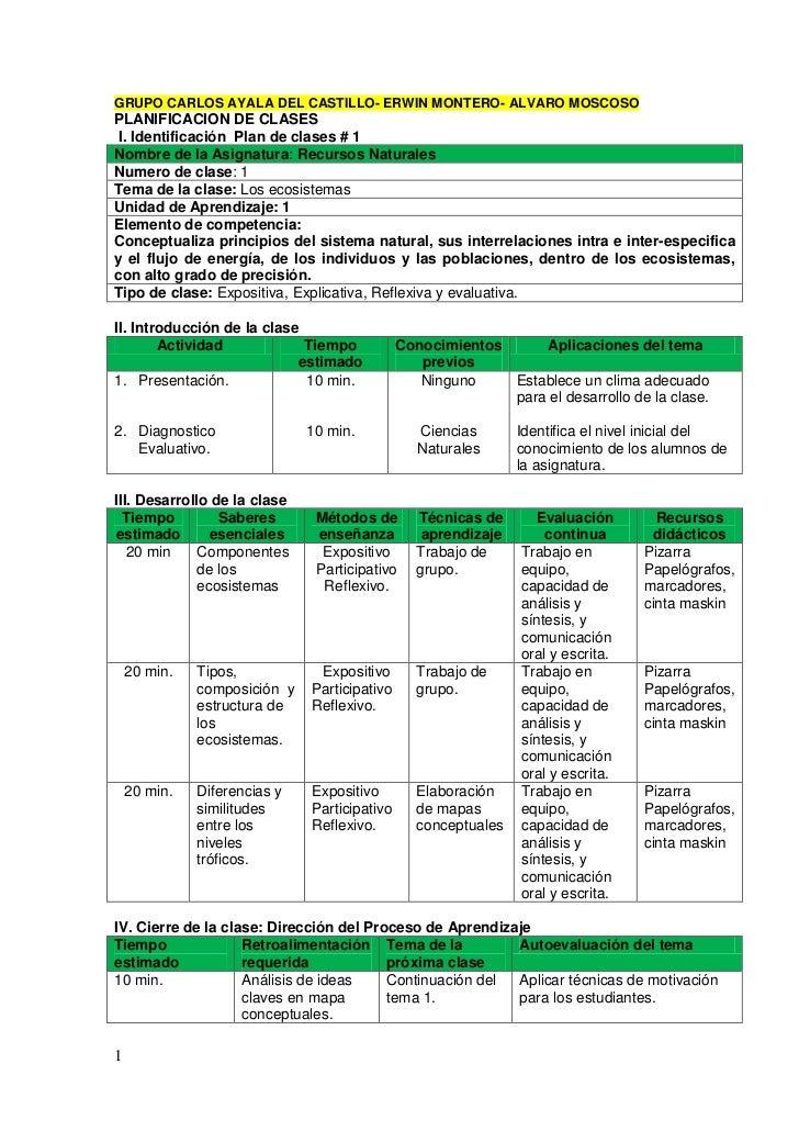 GRUPO CARLOS AYALA DEL CASTILLO- ERWIN MONTERO- ALVARO MOSCOSOPLANIFICACION DE CLASES I. Identificación Plan de clases # 1...