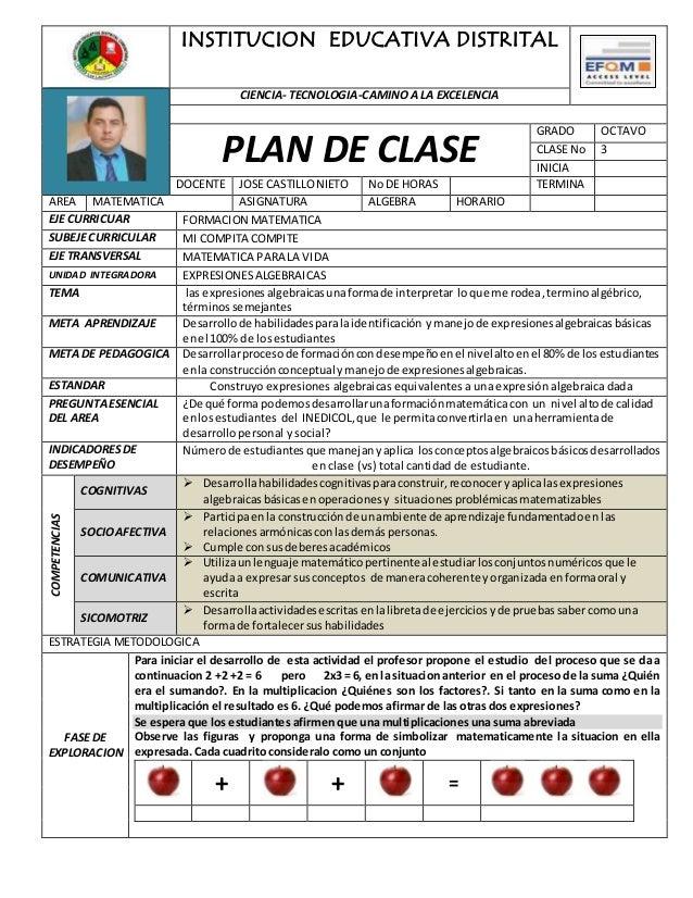 INSTITUCION EDUCATIVA DISTRITAL CIENCIA- TECNOLOGIA-CAMINO A LA EXCELENCIA PLAN DE CLASE GRADO OCTAVO CLASE No 3 INICIA DO...