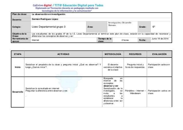 Plan de clase: La observación en investigación Docente: Germán Rodríguez López Colegio: Liceo Departamental grupo 3 Área: ...