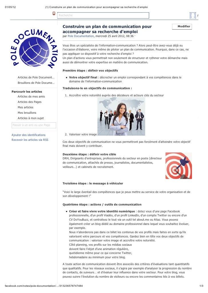 Construire un plan de communication pour accompagner sa recherche d'emploi