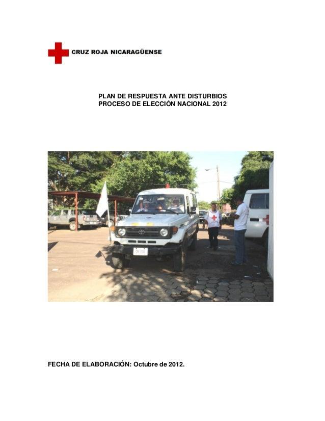 Plan de contingencia ante disturbio crn 2012