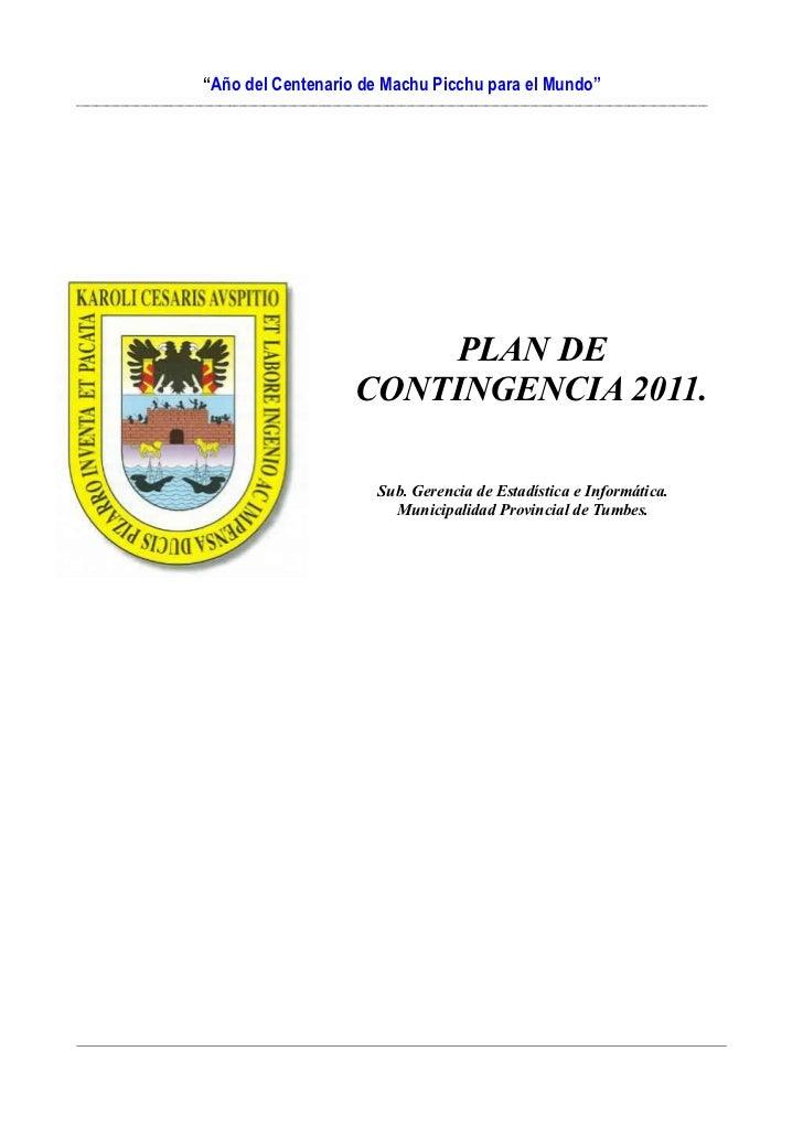 Plan de contingencia municipalidad de tumbes