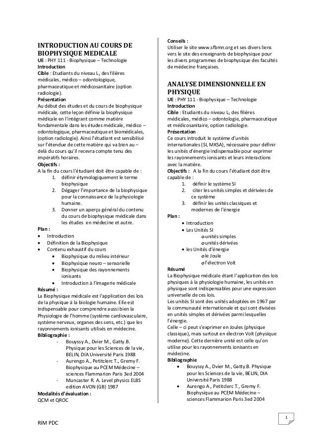 RIM PDC  1 INTRODUCTION AU COURS DE  BIOPHYSIQUE MEDICALE  UE : PHY 111 ‐ Biophysique – Technologie  Introduction   Cible ...