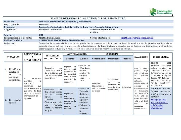 Plan de desarrollo  académico  por asignatura