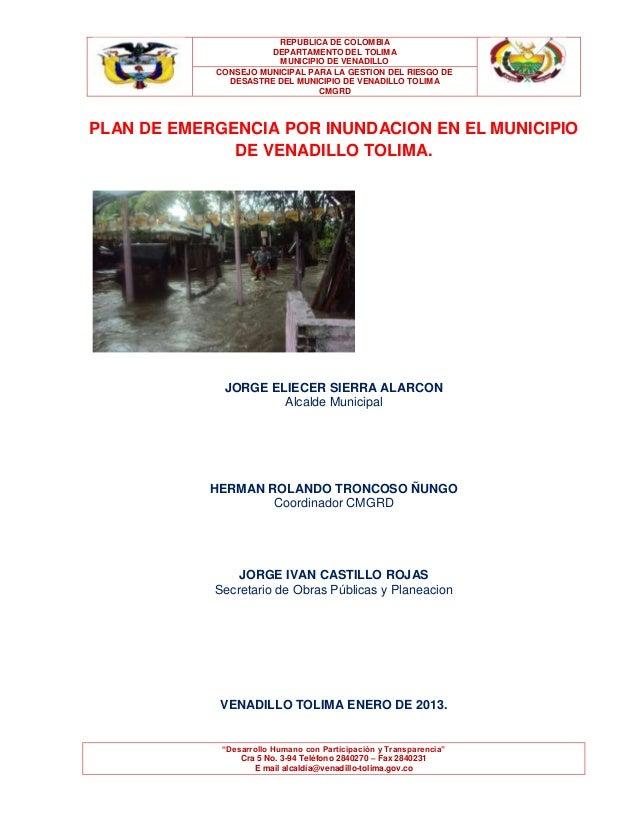 Plan de Emergencia por Inundacion en el municipio de Venadillo Tolima