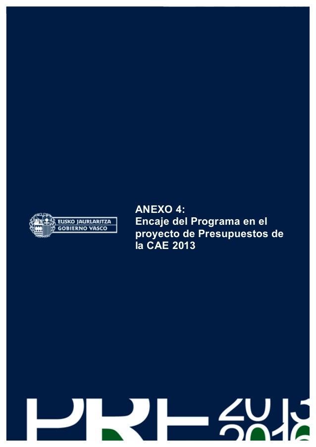 ANEXO 4:      Encaje del Programa en el      proyecto de Presupuestos de      la CAE 2013137