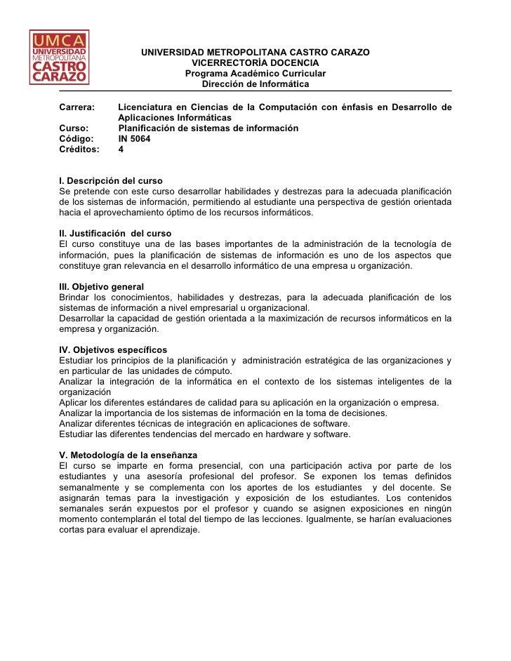 UNIVERSIDAD METROPOLITANA CASTRO CARAZO                              VICERRECTORÍA DOCENCIA                             Pr...